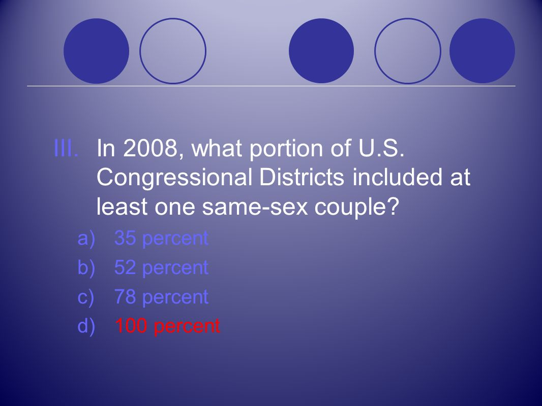 III.In 2008, what portion of U.S. Congressional Districts included at least one same-sex couple? a)35 percent b)52 percent c)78 percent d)100 percent