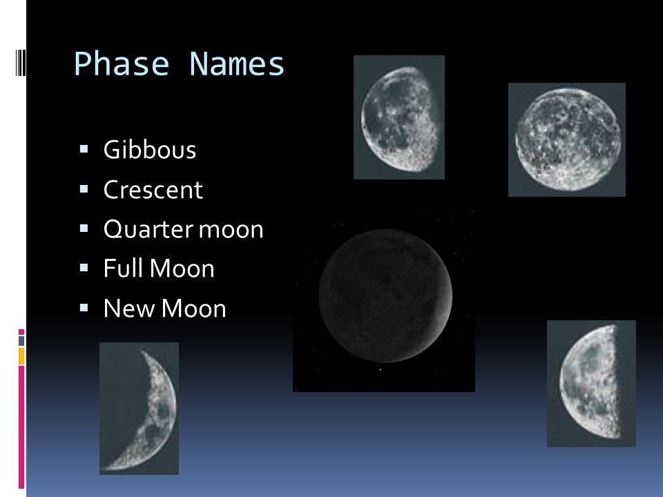 Phase Names Gibbous Crescent Quarter moon Full Moon New Moon