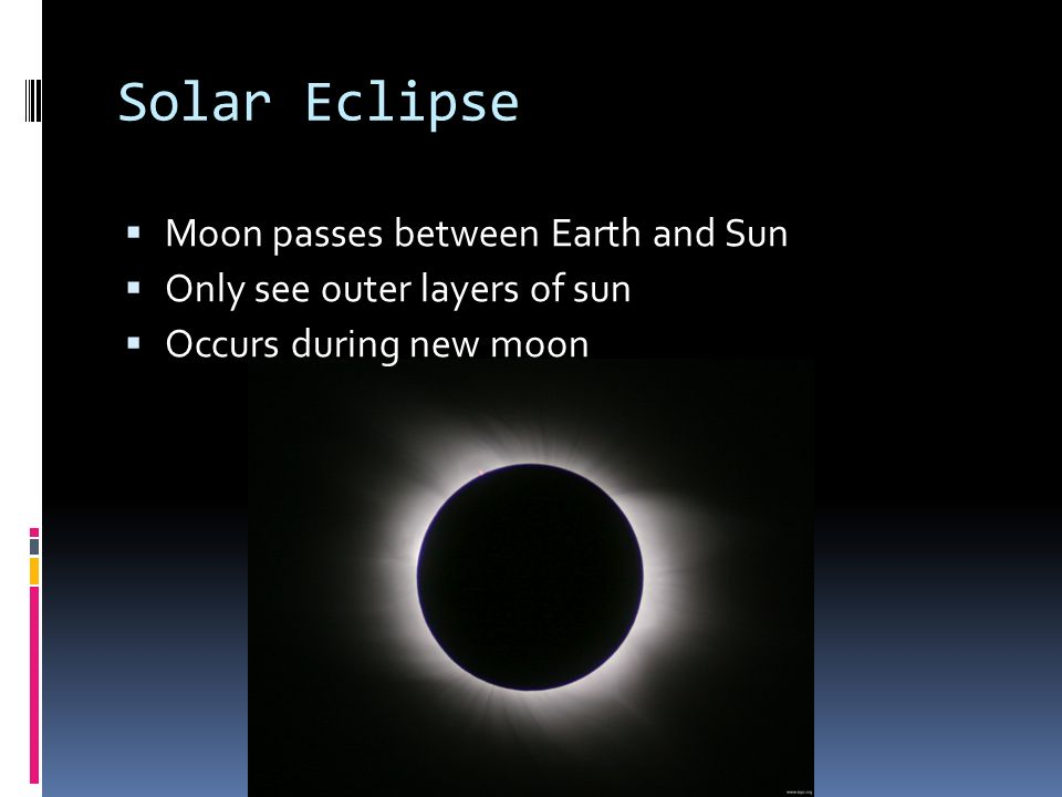 Solar Eclipse Moon passes between Earth and Sun Only see outer layers of sun Occurs during new moon
