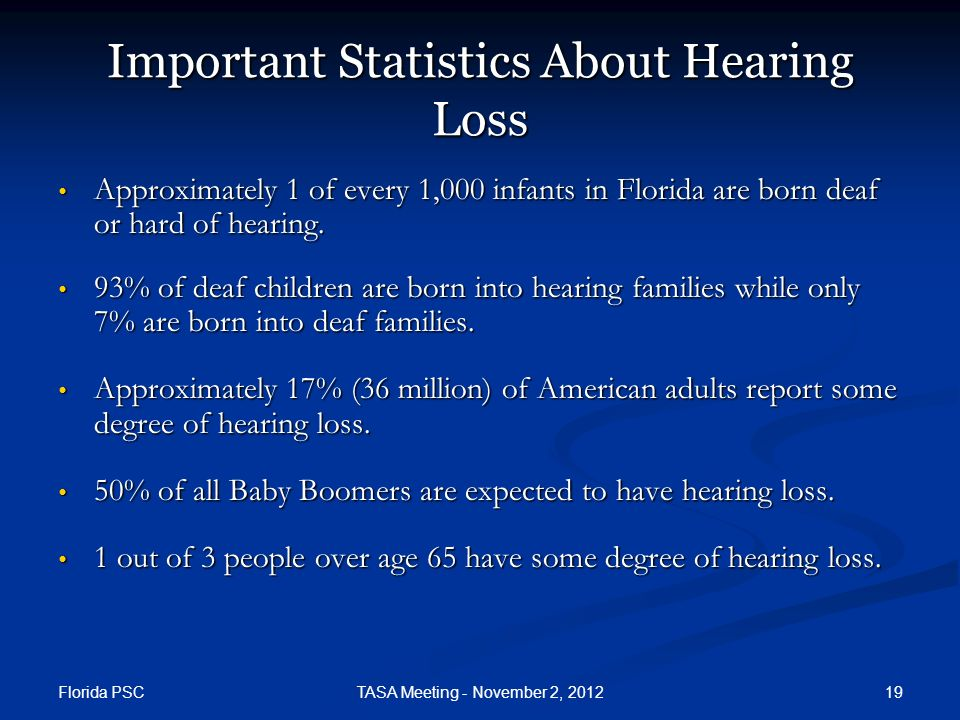 Florida PSC 19TASA Meeting - November 2, 2012 Important Statistics About Hearing Loss Approximately 1 of every 1,000 infants in Florida are born deaf or hard of hearing.