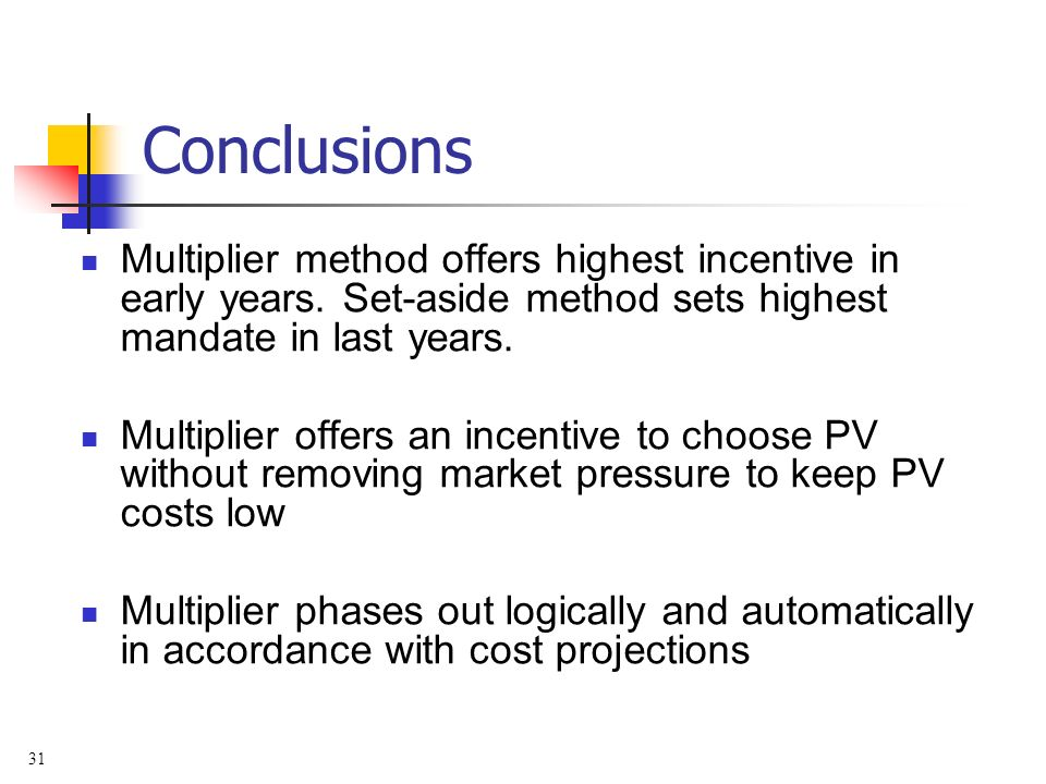 31 Conclusions Multiplier method offers highest incentive in early years. Set-aside method sets highest mandate in last years. Multiplier offers an in