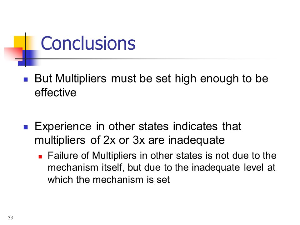 33 Conclusions But Multipliers must be set high enough to be effective Experience in other states indicates that multipliers of 2x or 3x are inadequate Failure of Multipliers in other states is not due to the mechanism itself, but due to the inadequate level at which the mechanism is set