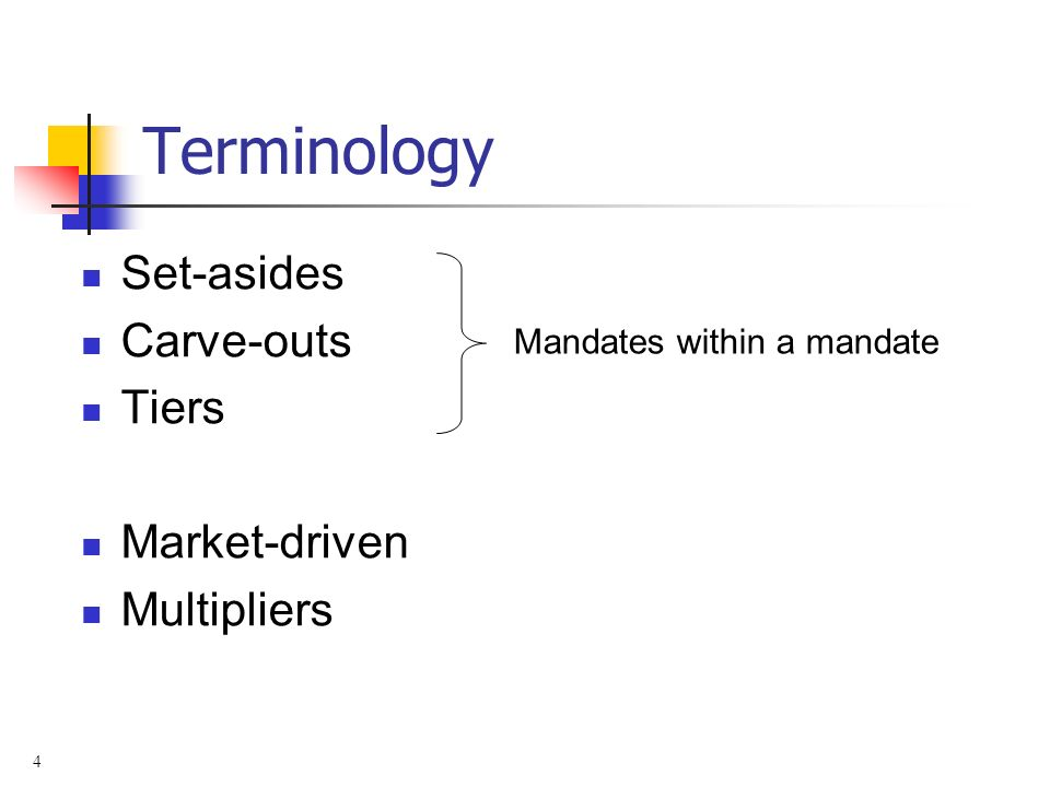 4 Terminology Set-asides Carve-outs Tiers Market-driven Multipliers Mandates within a mandate