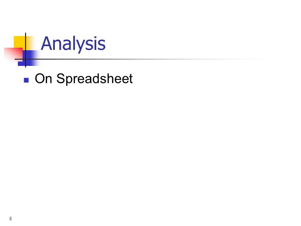 8 Analysis On Spreadsheet
