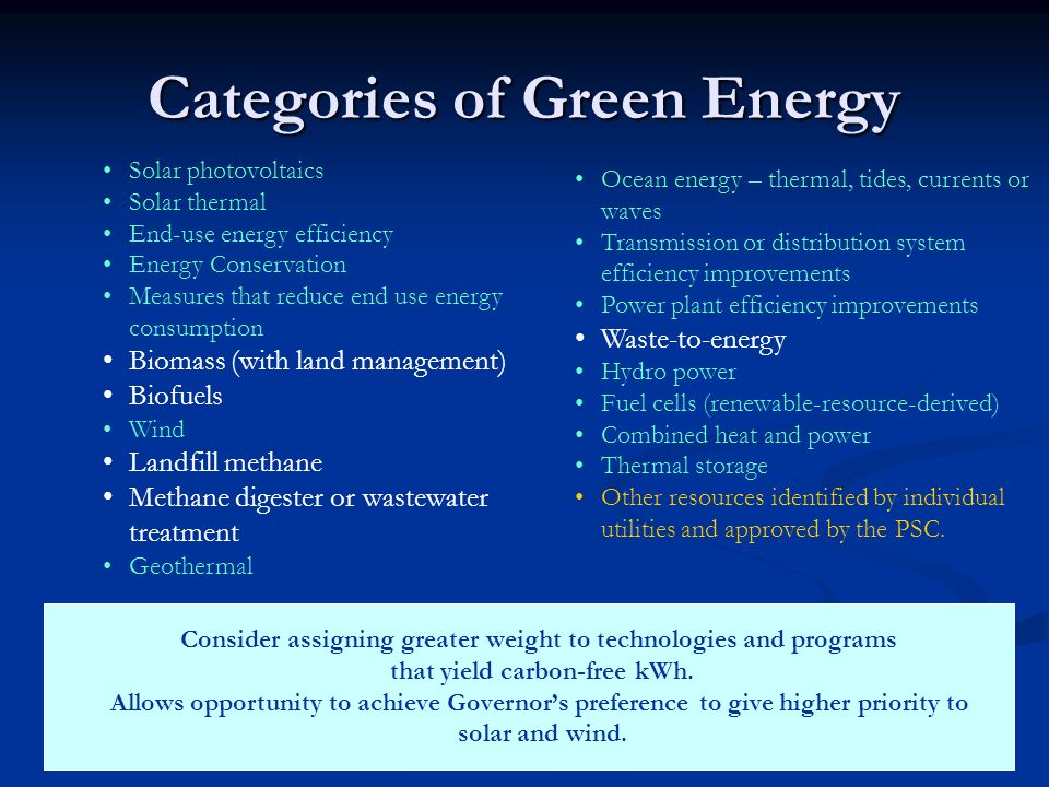 Categories of Green Energy Solar photovoltaics Solar thermal End-use energy efficiency Energy Conservation Measures that reduce end use energy consump