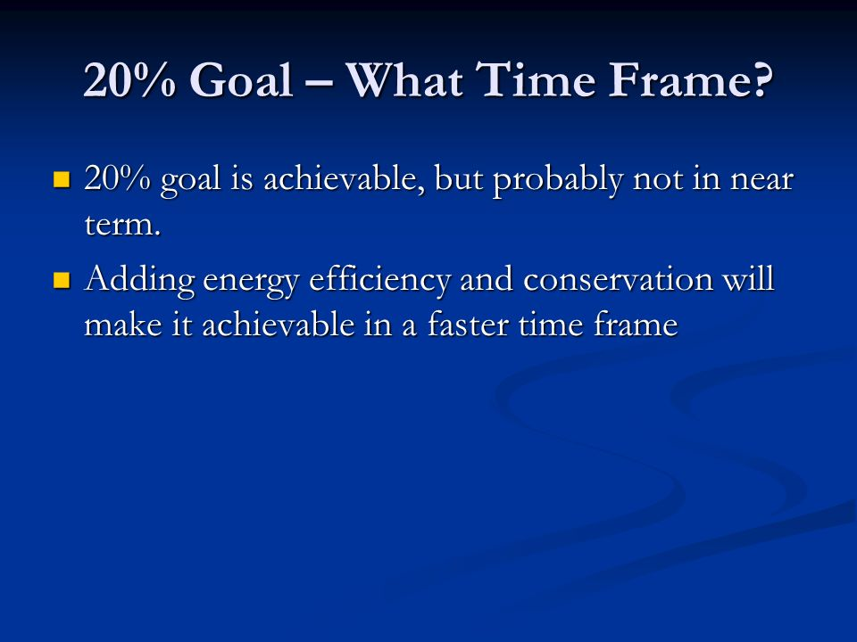 20% Goal – What Time Frame? 20% goal is achievable, but probably not in near term. 20% goal is achievable, but probably not in near term. Adding energ