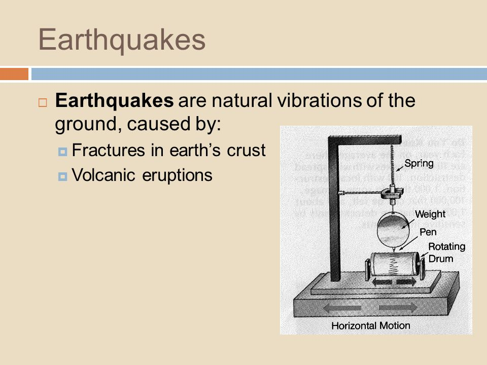 Earthquakes are natural vibrations of the ground, caused by: Fractures in earths crust Volcanic eruptions