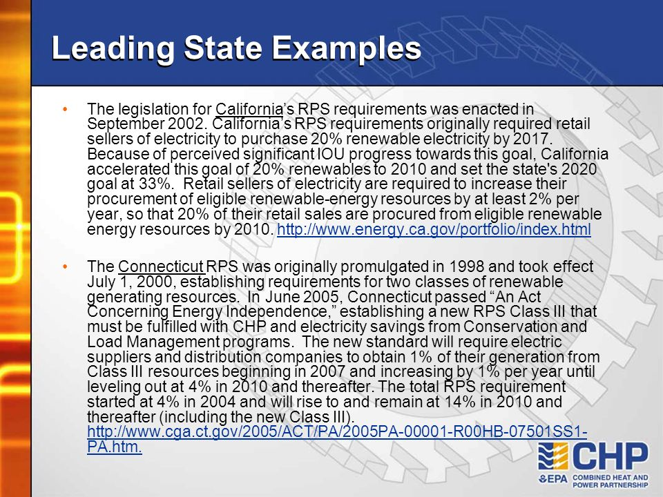 Leading State Examples The legislation for Californias RPS requirements was enacted in September 2002. Californias RPS requirements originally require