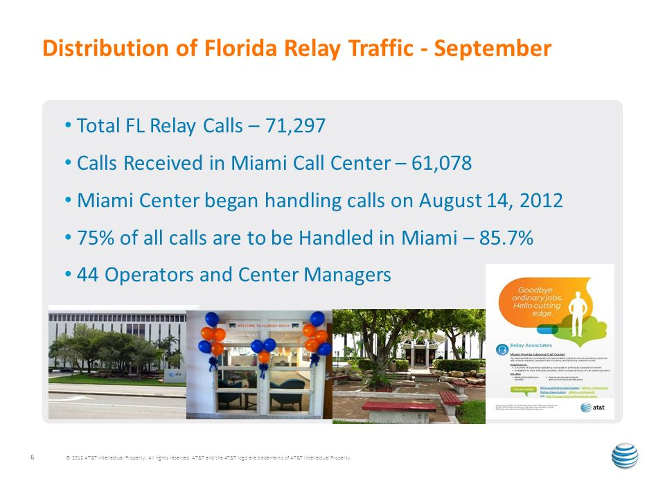 Total FL Relay Calls – 71,297 Calls Received in Miami Call Center – 61,078 Miami Center began handling calls on August 14, 2012 75% of all calls are to be Handled in Miami – 85.7% 44 Operators and Center Managers Distribution of Florida Relay Traffic - September © 2012 AT&T Intellectual Property.