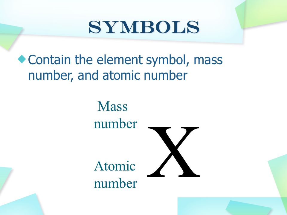 Mass number = # of protons + # of neutrons Protons and neutrons account for most of the mass of an atom