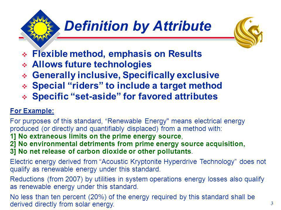 3 Definition by Attribute Flexible method, emphasis on Results Allows future technologies Generally inclusive, Specifically exclusive Special riders t
