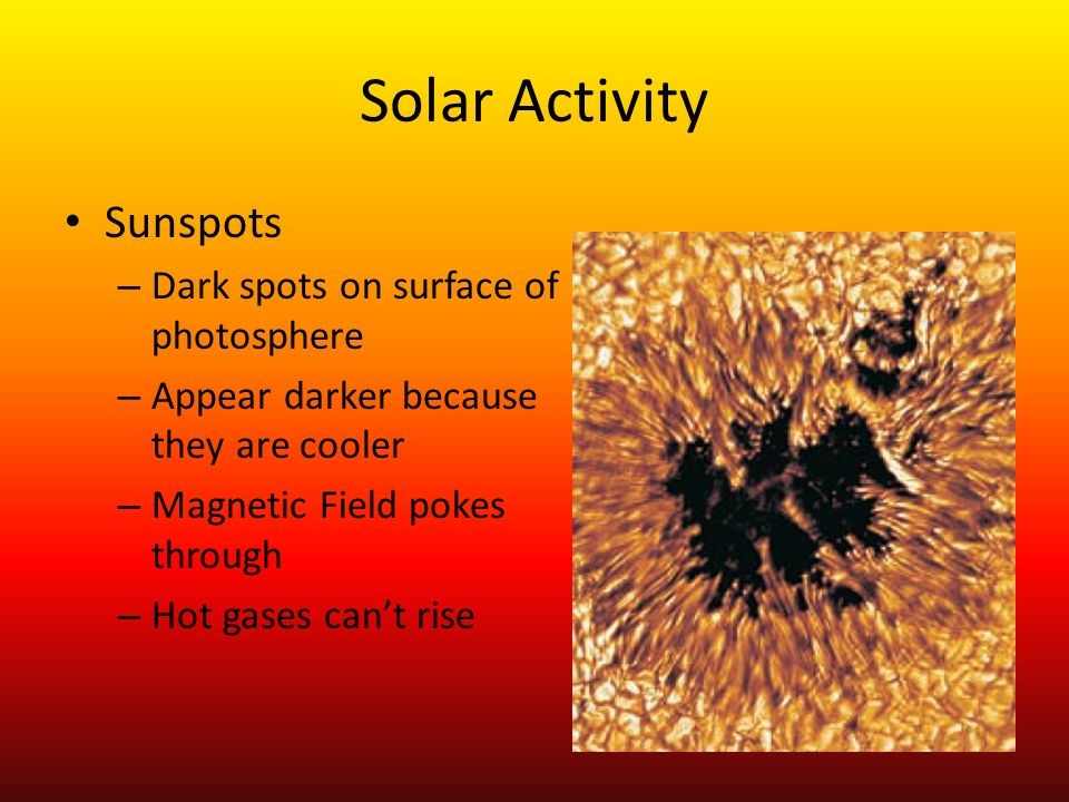 Solar Activity Cycles every 22.4 years Maximum sunspots every 11.2 years Magnetic field reverses
