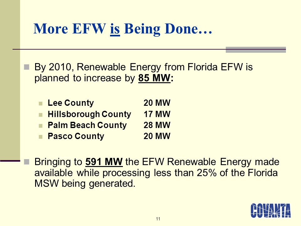 11 More EFW is Being Done… By 2010, Renewable Energy from Florida EFW is planned to increase by 85 MW: Lee County20 MW Hillsborough County17 MW Palm Beach County 28 MW Pasco County20 MW Bringing to 591 MW the EFW Renewable Energy made available while processing less than 25% of the Florida MSW being generated.
