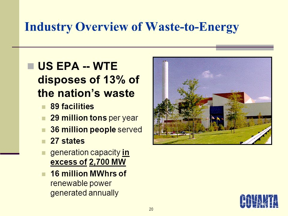 20 Industry Overview of Waste-to-Energy US EPA -- WTE disposes of 13% of the nations waste 89 facilities 29 million tons per year 36 million people served 27 states generation capacity in excess of 2,700 MW 16 million MWhrs of renewable power generated annually