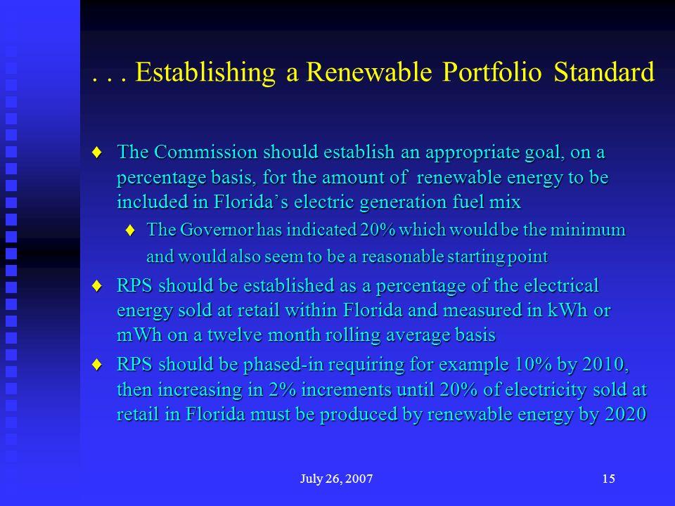 ... Establishing a Renewable Portfolio Standard The Commission should establish an appropriate goal, on a percentage basis, for the amount of renewabl