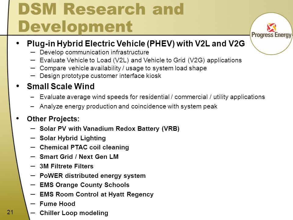 21 DSM Research and Development Plug-in Hybrid Electric Vehicle (PHEV) with V2L and V2G – Develop communication infrastructure – Evaluate Vehicle to L