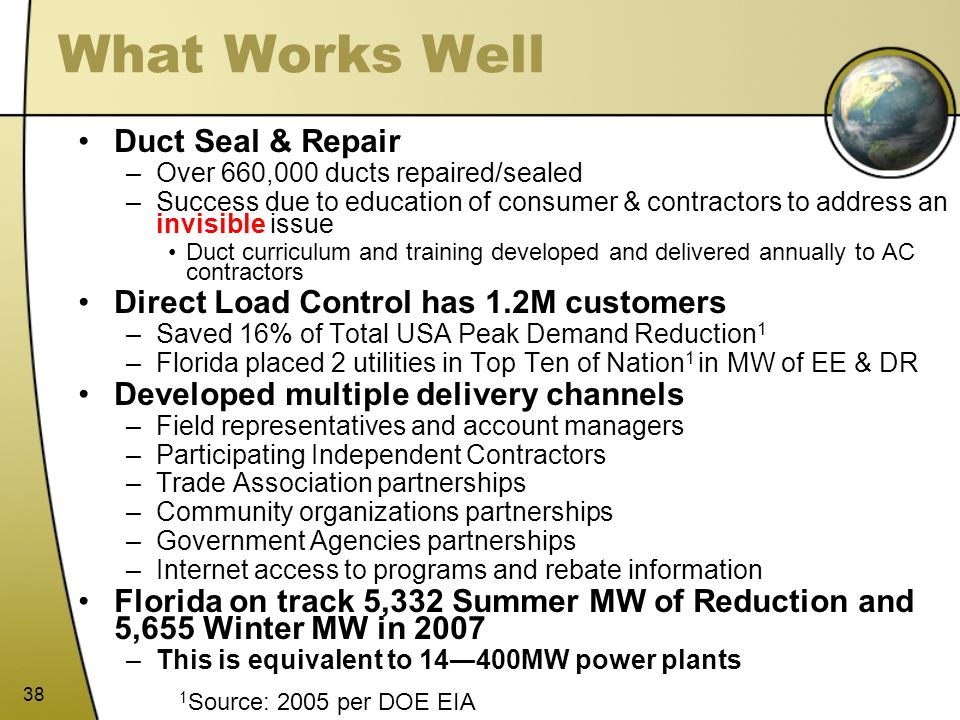 38 What Works Well Duct Seal & Repair –Over 660,000 ducts repaired/sealed –Success due to education of consumer & contractors to address an invisible