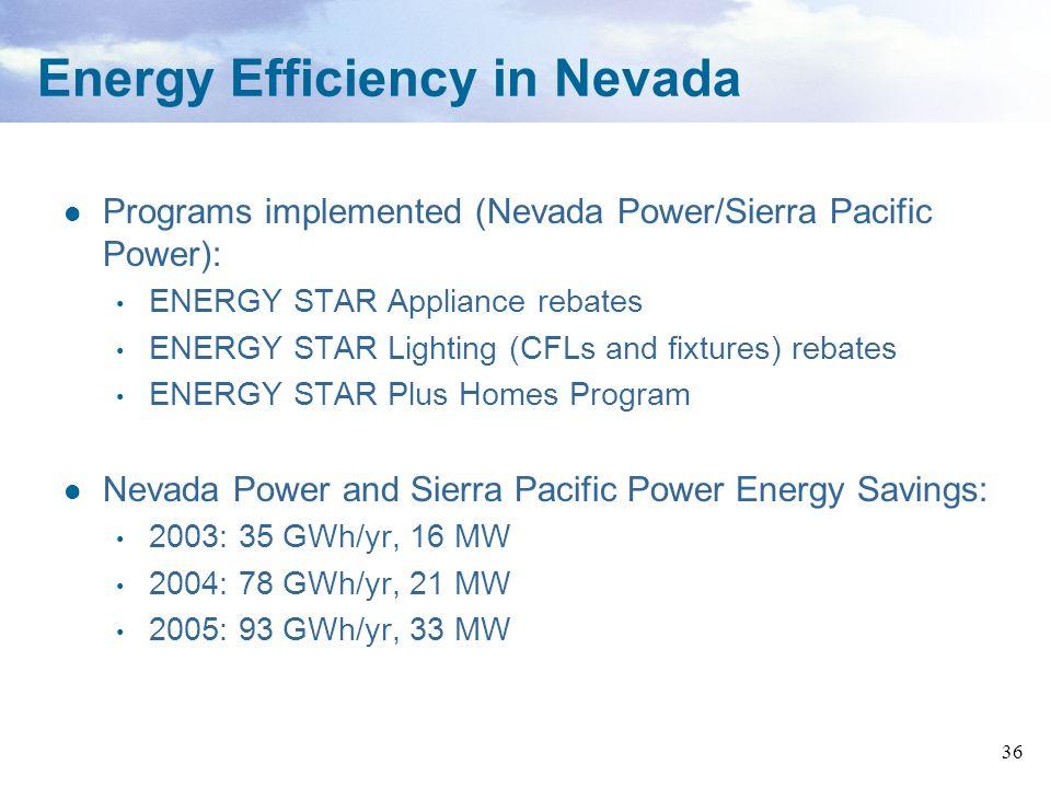 36 Programs implemented (Nevada Power/Sierra Pacific Power): ENERGY STAR Appliance rebates ENERGY STAR Lighting (CFLs and fixtures) rebates ENERGY STA