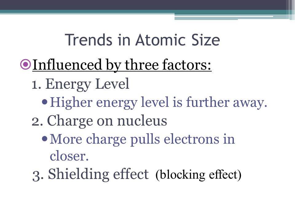 Trends in Atomic Size Influenced by three factors: 1. Energy Level Higher energy level is further away. 2. Charge on nucleus More charge pulls electro