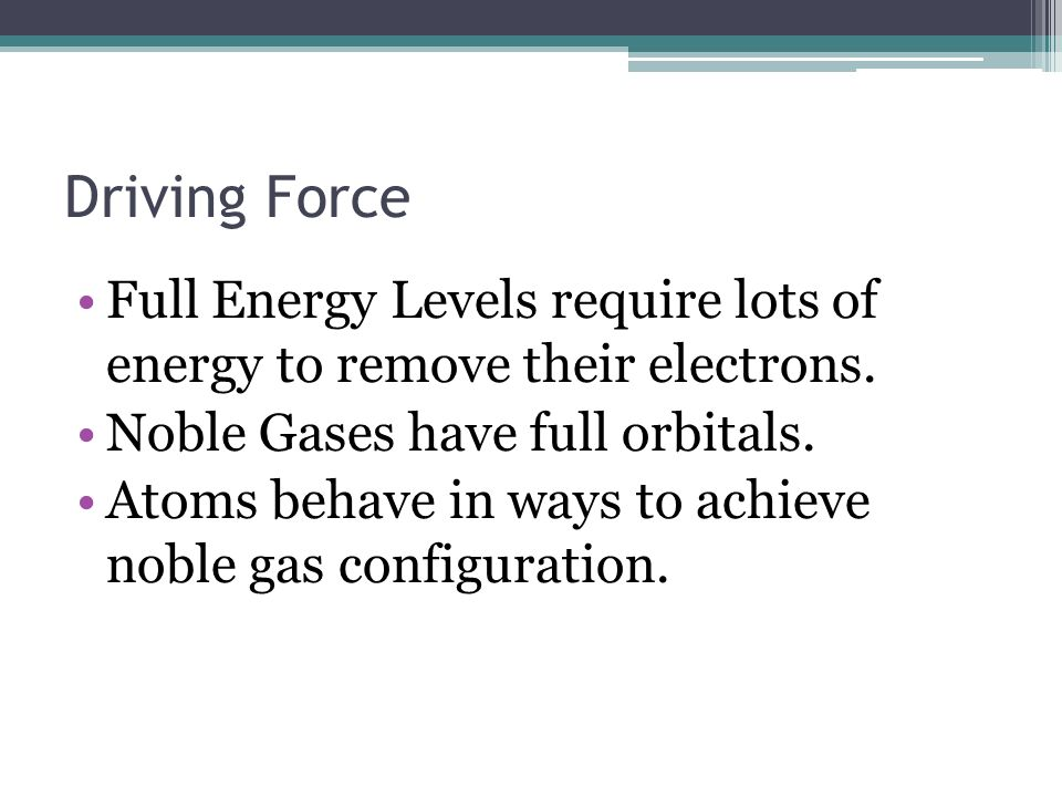 Driving Force Full Energy Levels require lots of energy to remove their electrons. Noble Gases have full orbitals. Atoms behave in ways to achieve nob