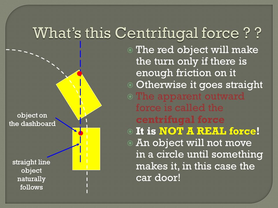 The red object will make the turn only if there is enough friction on it Otherwise it goes straight The apparent outward force is called the centrifug