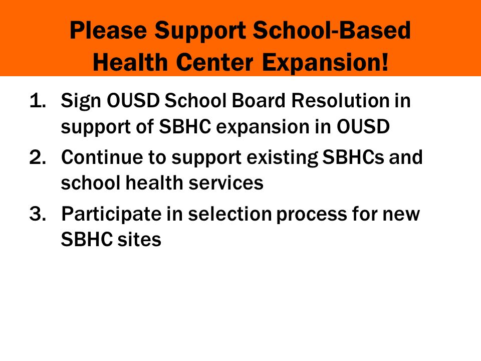 Please Support School-Based Health Center Expansion.