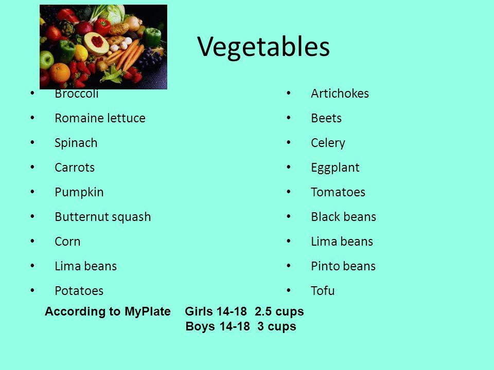 Vegetables Broccoli Romaine lettuce Spinach Carrots Pumpkin Butternut squash Corn Lima beans Potatoes Artichokes Beets Celery Eggplant Tomatoes Black