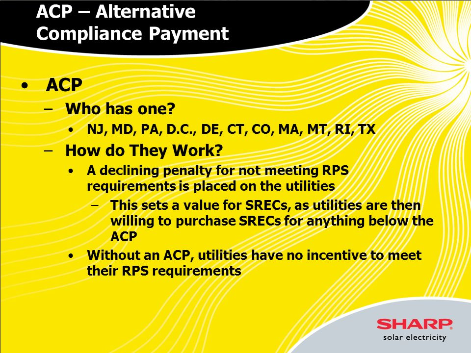 ACP – Alternative Compliance Payment ACP –Who has one.