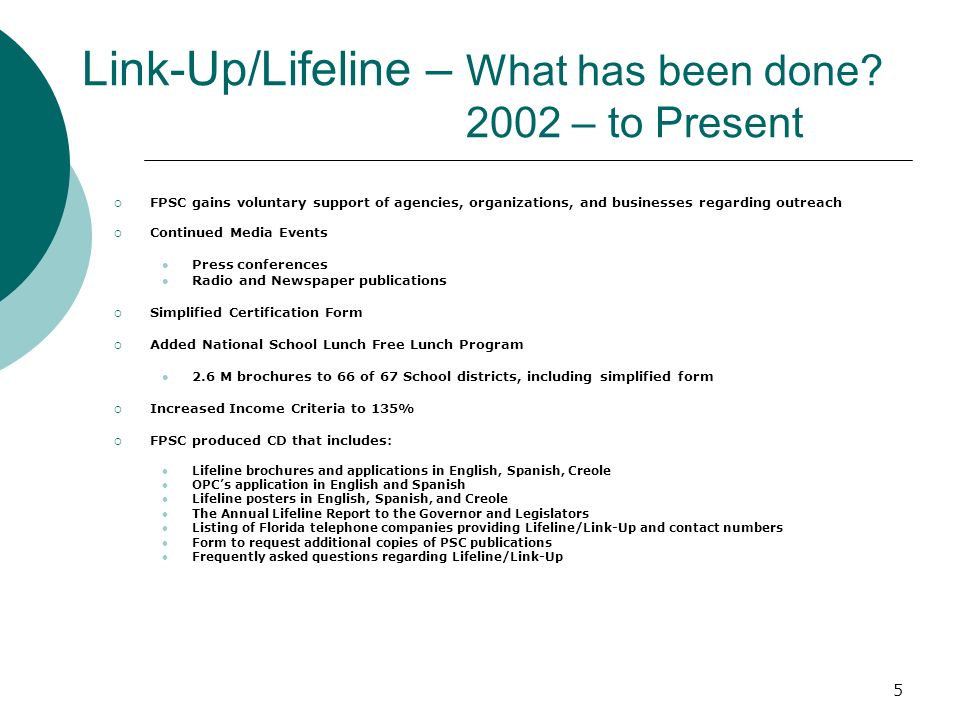 5 Link-Up/Lifeline – What has been done.