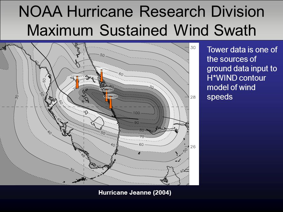 NOAA Hurricane Research Division Maximum Sustained Wind Swath Hurricane Jeanne (2004) Tower data is one of the sources of ground data input to H*WIND