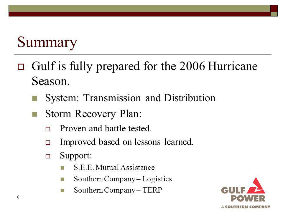 6 Summary Gulf is fully prepared for the 2006 Hurricane Season.