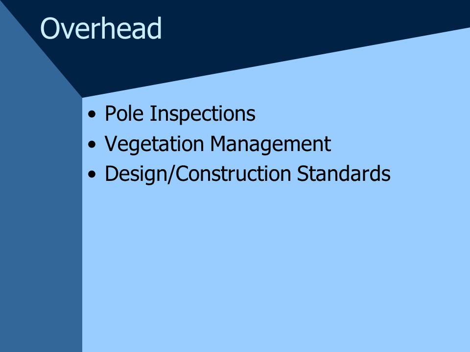 Overhead Pole Inspections Vegetation Management Design/Construction Standards