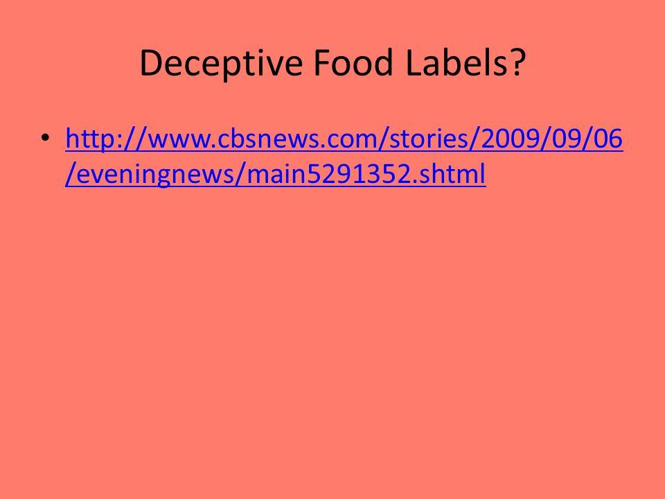 Deceptive Food Labels.