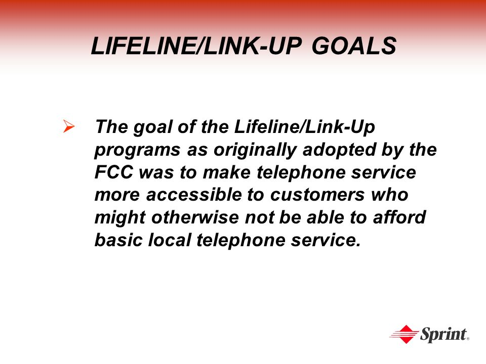 LIFELINE/LINK-UP GOALS The goal of the Lifeline/Link-Up programs as originally adopted by the FCC was to make telephone service more accessible to customers who might otherwise not be able to afford basic local telephone service.