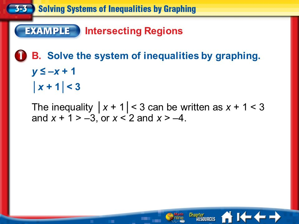 Lesson 3-3 Example 1 B. Solve the system of inequalities by graphing. y –x + 1 x + 1< 3 The inequality x + 1 –3, or x –4. Intersecting Regions