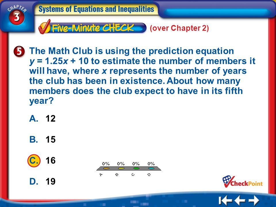 A. A B. B C. C D. D (over Chapter 2) 5 Min 1-5 A.12 B.15 C.16 D.19 The Math Club is using the prediction equation y = 1.25x + 10 to estimate the numbe