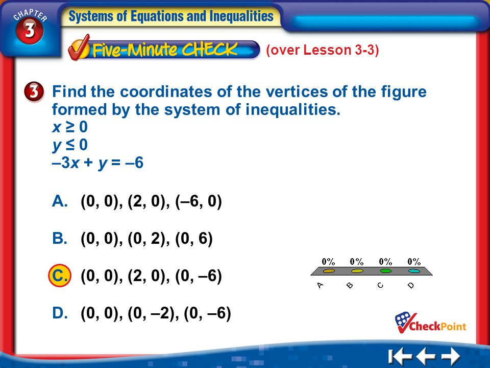 (over Lesson 3-3) 5 Min 4-3 A. A B. B C. C D. D Find the coordinates of the vertices of the figure formed by the system of inequalities. x 0 y 0 –3x +
