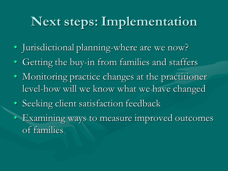 Next steps: Implementation Jurisdictional planning-where are we now Jurisdictional planning-where are we now.