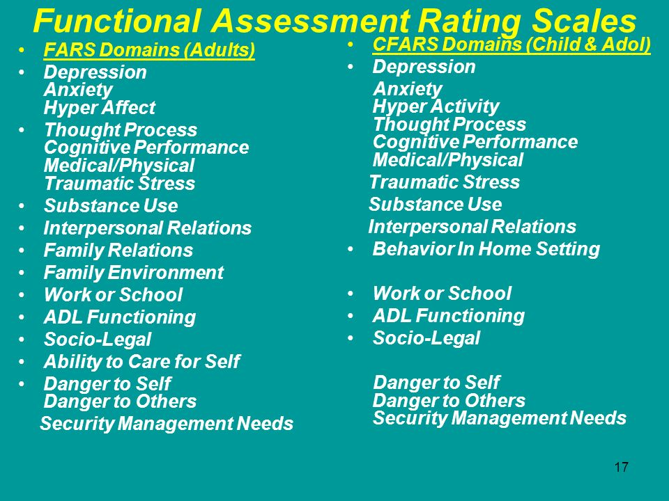 17 Functional Assessment Rating Scales FARS Domains (Adults) Depression Anxiety Hyper Affect Thought Process Cognitive Performance Medical/Physical Tr