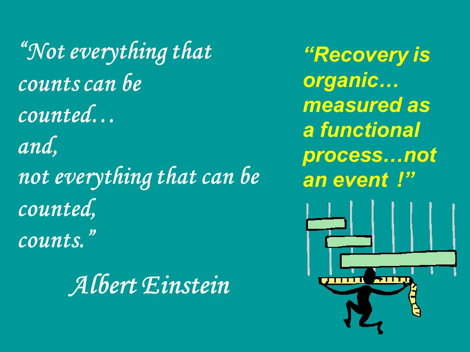 Not everything that counts can be counted… and, not everything that can be counted, counts. Albert Einstein Recovery is organic… measured as a functio