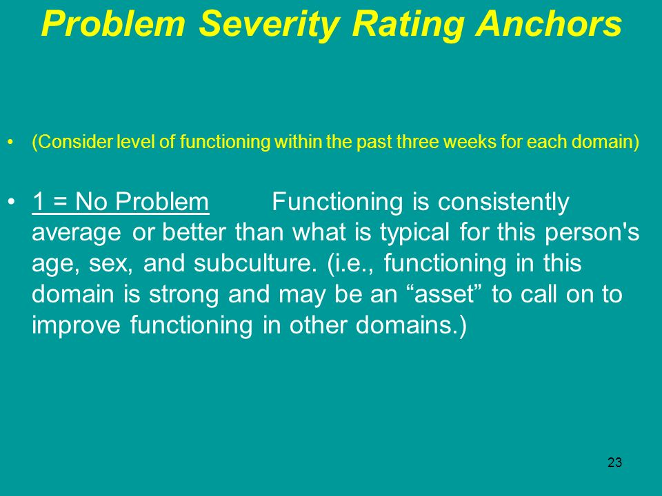 23 Problem Severity Rating Anchors (Consider level of functioning within the past three weeks for each domain) 1 = No ProblemFunctioning is consistent