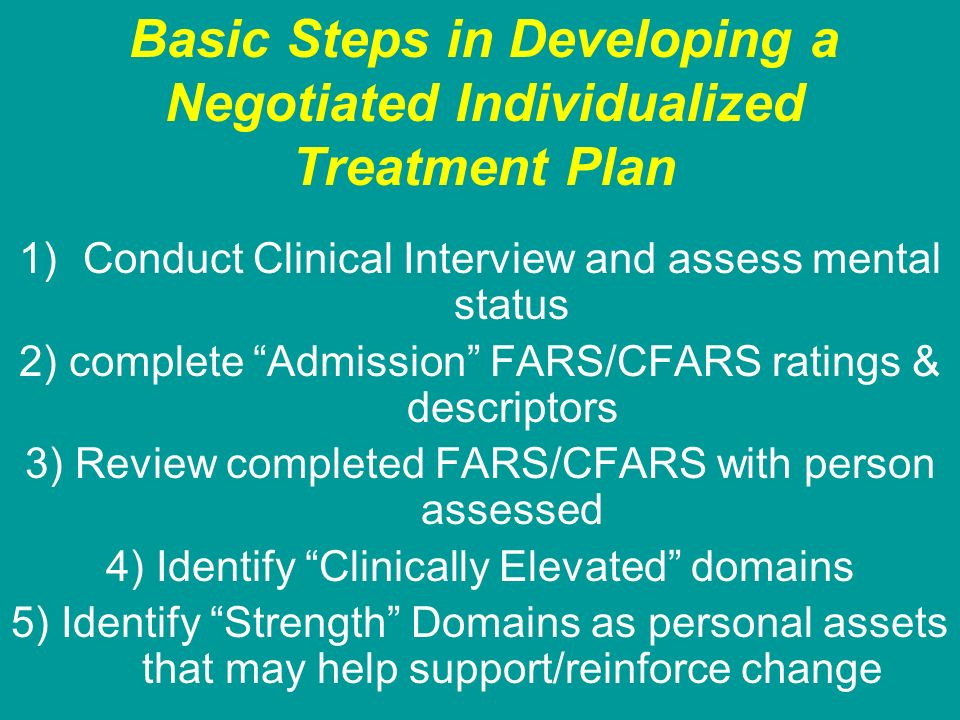 Basic Steps in Developing a Negotiated Individualized Treatment Plan 1)Conduct Clinical Interview and assess mental status 2) complete Admission FARS/