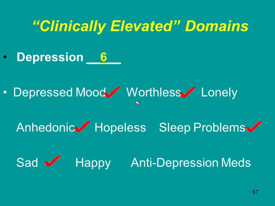 57 Clinically Elevated Domains Depression __6__ Depressed Mood Worthless Lonely Anhedonic Hopeless Sleep Problems Sad Happy Anti-Depression Meds