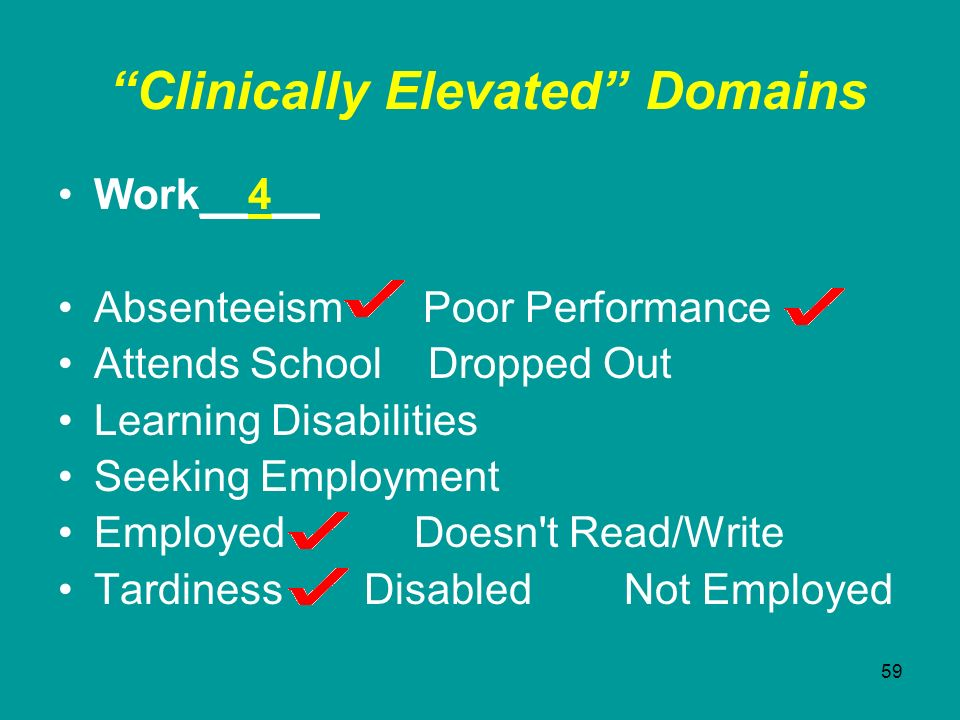 59 Clinically Elevated Domains Work__4__ Absenteeism Poor Performance Attends School Dropped Out Learning Disabilities Seeking Employment Employed Doe