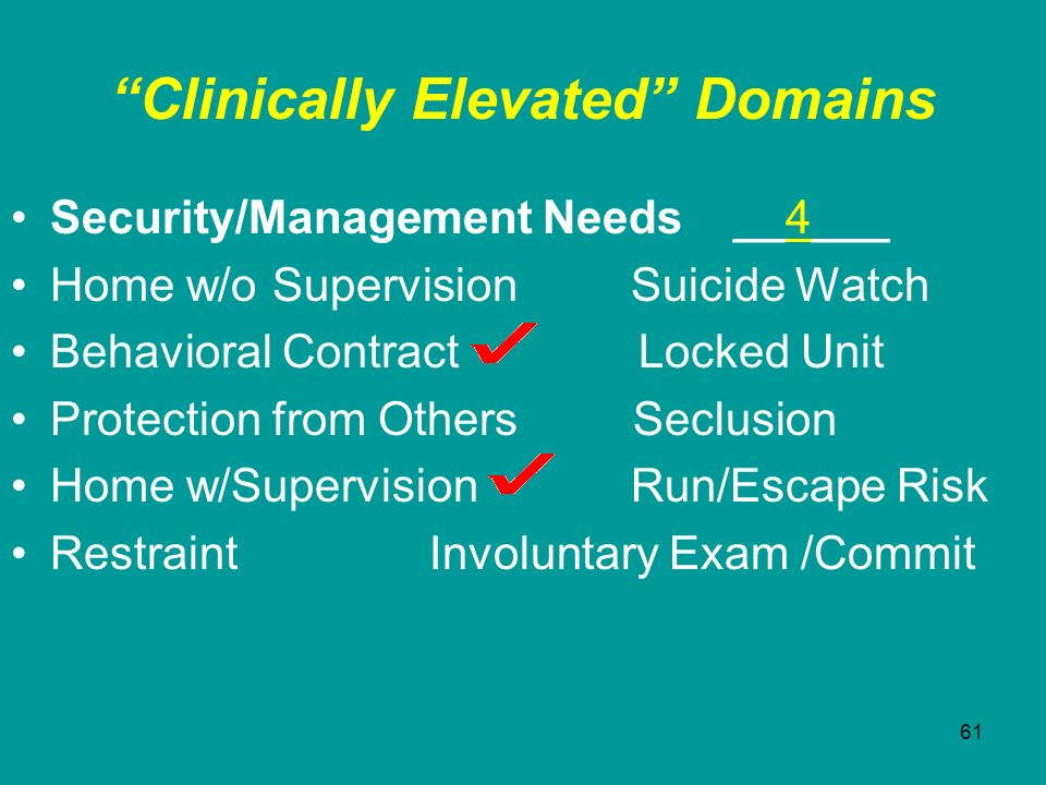 61 Clinically Elevated Domains Security/Management Needs __4___ Home w/o Supervision Suicide Watch Behavioral Contract Locked Unit Protection from Oth
