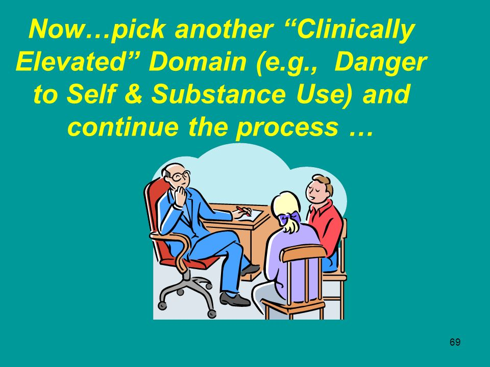 69 Now…pick another Clinically Elevated Domain (e.g., Danger to Self & Substance Use) and continue the process …