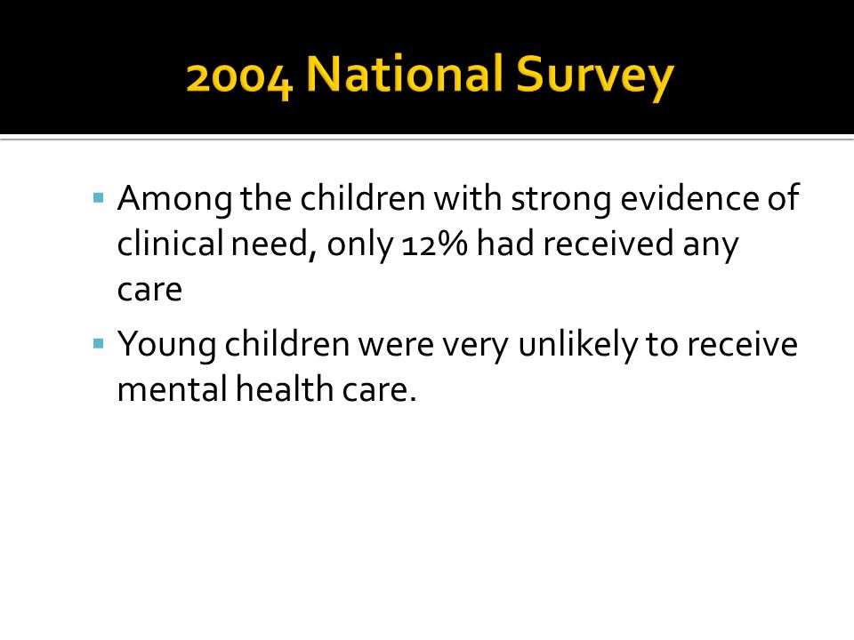 Among the children with strong evidence of clinical need, only 12% had received any care Young children were very unlikely to receive mental health ca