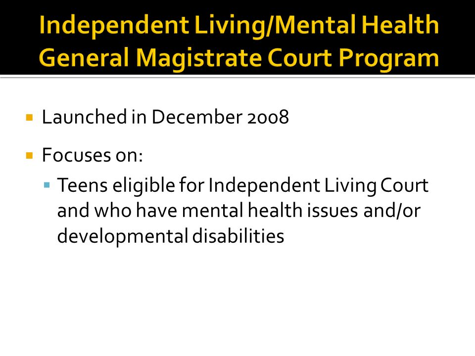 Launched in December 2008 Focuses on: Teens eligible for Independent Living Court and who have mental health issues and/or developmental disabilities