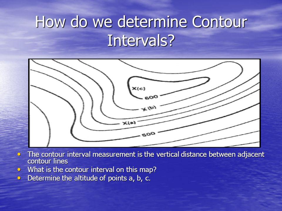 How do we determine Contour Intervals? The contour interval measurement is the vertical distance between adjacent contour lines The contour interval m