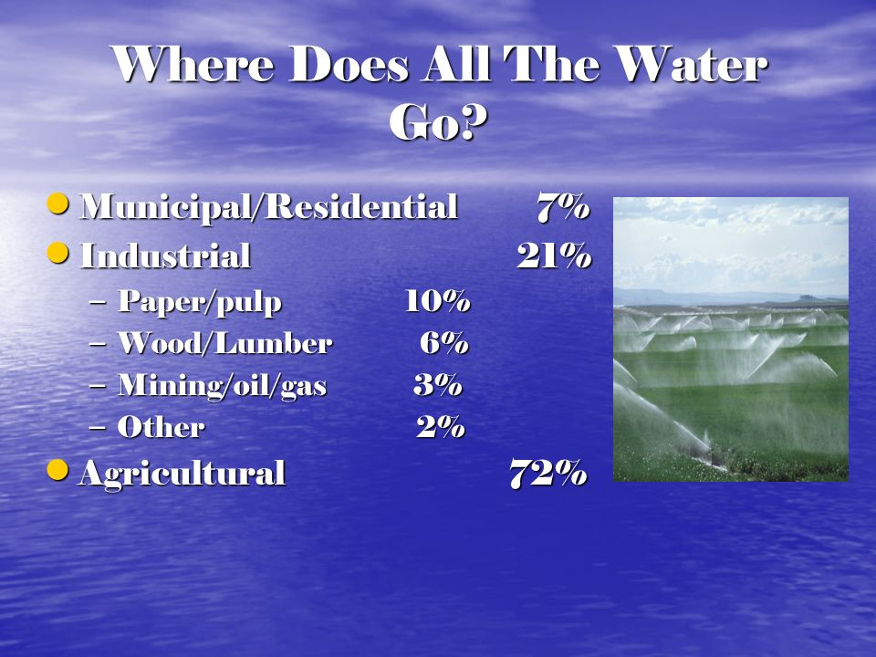 Where Does All The Water Go? Municipal/Residential 7% Municipal/Residential 7% Industrial 21% Industrial 21% – Paper/pulp 10% – Wood/Lumber 6% – Minin
